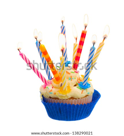 birthday cake with burning candles isolated on white background - stock photo