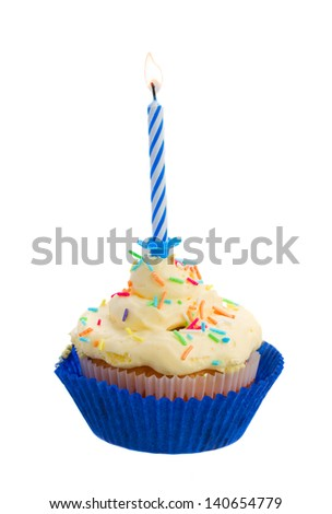 birthday cake with burning one candle isolated on white background - stock photo