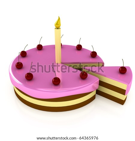 Birthday cake with candle over white. 3d render - stock photo