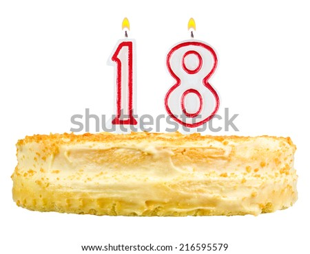 birthday cake with candles number eighteen isolated on white background - stock photo