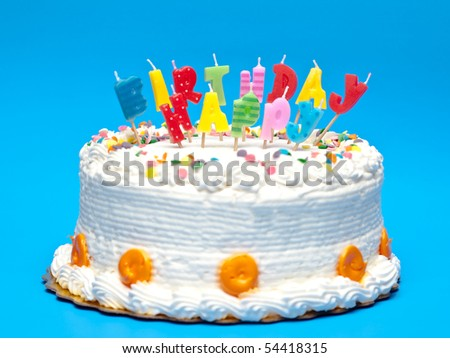 Birthday Cake with Candles on Blue background - stock photo