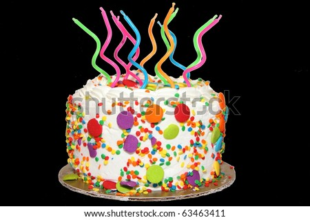Birthday Cake with Candles (transparent) - stock photo