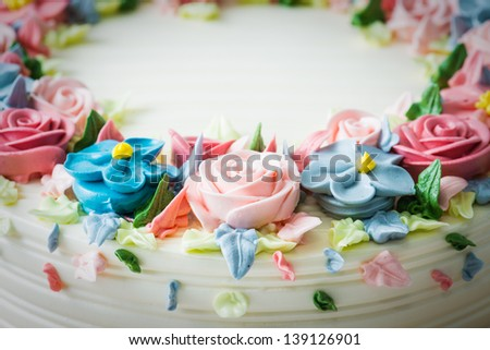 Birthday cake with flowers - stock photo
