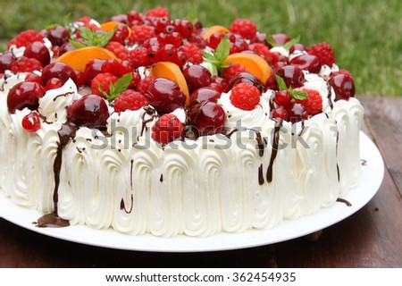 Birthday cake with fruit