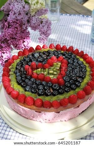 Birthday Cake Fruit Decoration Front Lilac Stock Photo Royalty Free