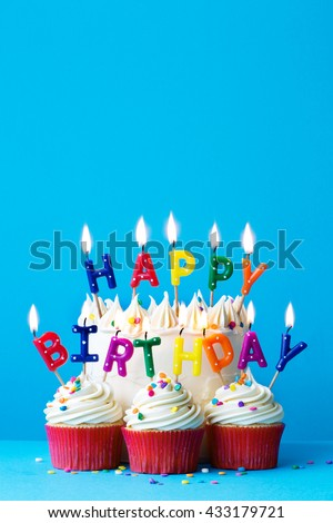 Birthday cake with happy birthday message - stock photo