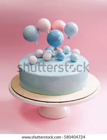 Birthday Cake Light Blue Mirror Glaze Stock Photo Royalty Free
