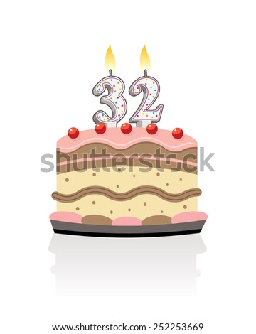 birthday cake with lit candle number thirty two - stock photo