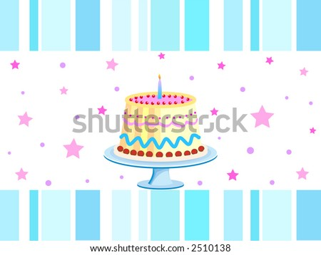 Birthday cake with one glowing candle - stock photo