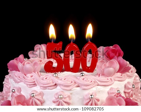 Birthday cake with red candles showing Nr. 500 - stock photo