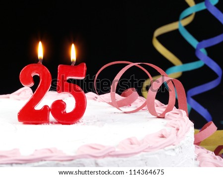 Birthday cake with red candles showing Nr. 25