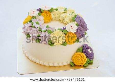 Birthday Cake Summer Flowers On White Stock Photo 789476131