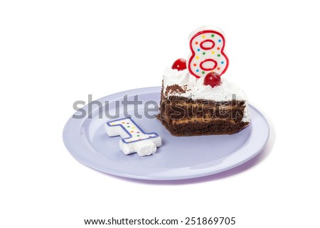 Birthday cake with two candles and piece of cake isolated - stock photo