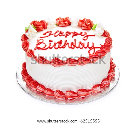 Birthday cake with white and red icing isolated on white - stock photo