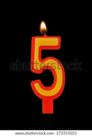 Birthday candle isolated on black background, number 5 - stock photo