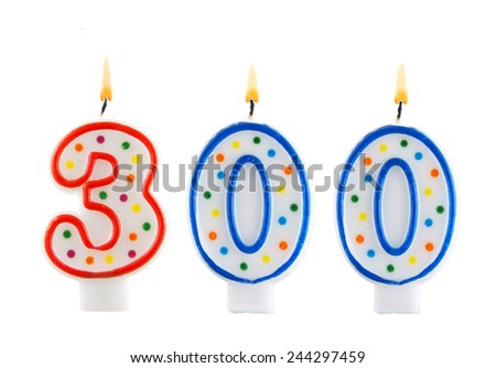 Birthday candle on white background, number 300  - stock photo