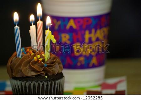 birthday candles burning - stock photo