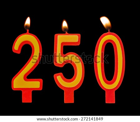 Birthday candles isolated on black background, number 250 - stock photo