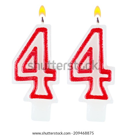 Birthday candles number forty four isolated on white background