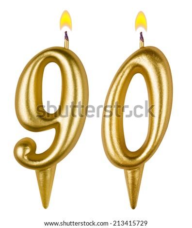 Birthday candles number ninety isolated on white background - stock photo