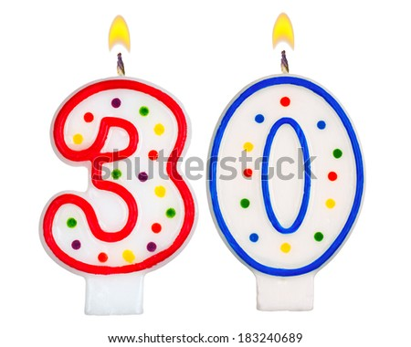 Birthday candles number thirty isolated on white background - stock photo