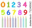 Birthday Candles Of Different Form, Isolated On White Background - stock vector