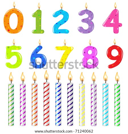 Birthday Candles Of Different Form, Isolated On White Background - stock photo