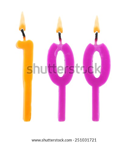 Birthday candles on white background, number 100 - stock photo