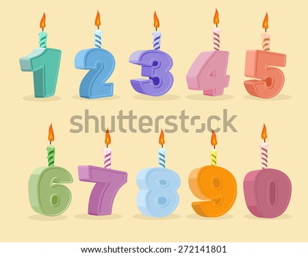 birthday candles set. Cartoon numbers - stock photo
