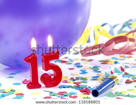 Birthday candles showing Nr. 15 - stock photo