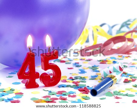 Birthday candles showing Nr. 45 - stock photo