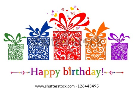 Birthday card. Celebration red background with gift boxes and place for your text.  illustration - stock photo