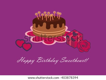Birthday Card Sweetheart Happy Birthday Sweetheart Stock