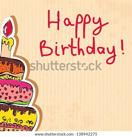 birthday card hand drawn with cake on paper texture. Raster copy of vector illustration - stock photo