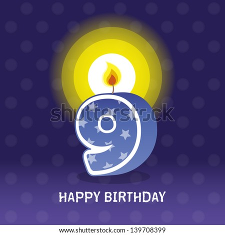 birthday card, ninth birthday with candle , number 9 - stock photo