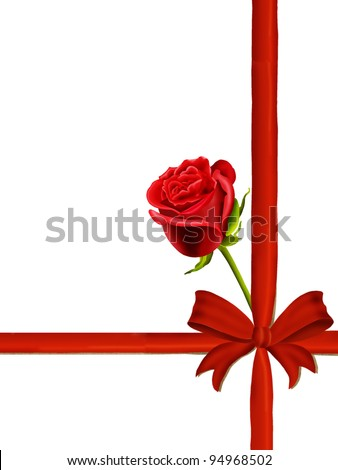 Birthday card to mum with a single red rose, red ribbon and bow isolated on a white background