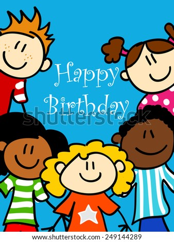 Birthday card with cute kid cartoon characters looking at you  - stock photo