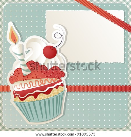 Birthday card with funny cupcake and copy space - stock photo