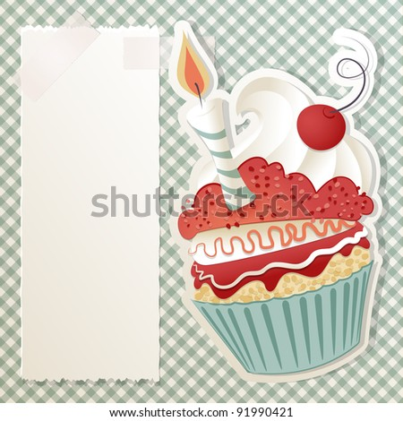 Birthday card with funny cupcake and paper note - stock photo