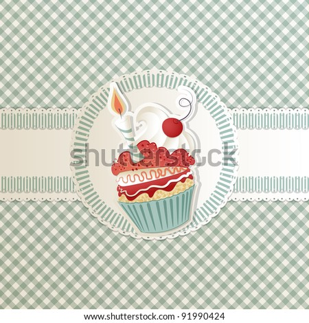 Birthday card with funny cupcake on ribbon - stock photo