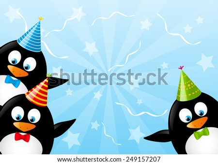 Birthday Card Funny Penguins Stock Illustration 249157207 Shutterstock