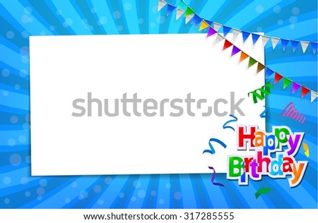 Birthday card with paper sign  - stock photo