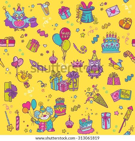 Birthday Celebration Seamless Pattern - for scrapbook, design - stock photo