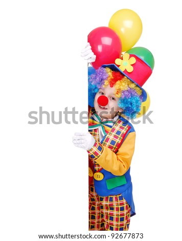Birthday clown holding balloons and  blank board
