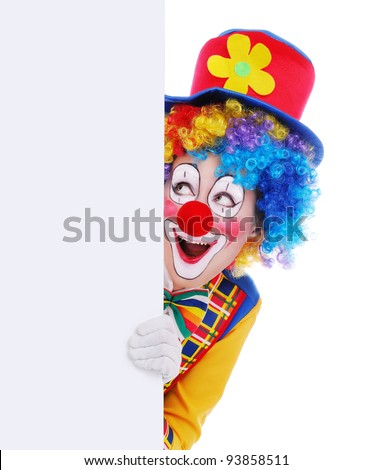 Birthday clown holding blank board - stock photo