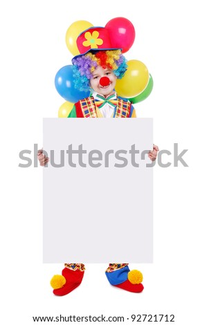 Birthday clown holding the blank board - stock photo