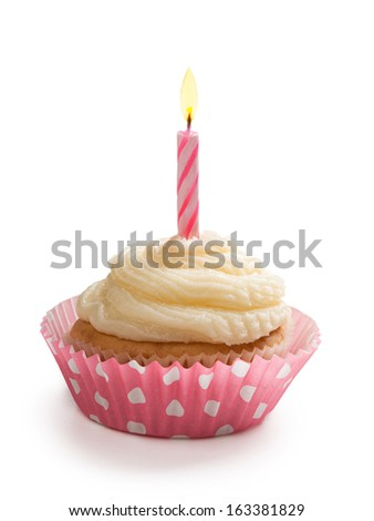 Birthday cupcake with a candle isolated on white background - stock photo