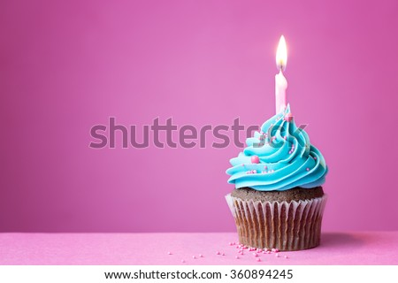 Birthday cupcake with a single candle - stock photo