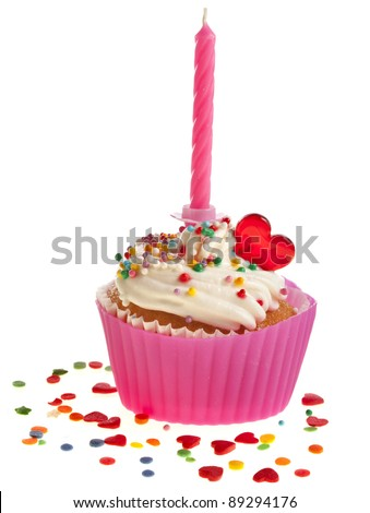 Birthday cupcake with candle   on white  background - stock photo