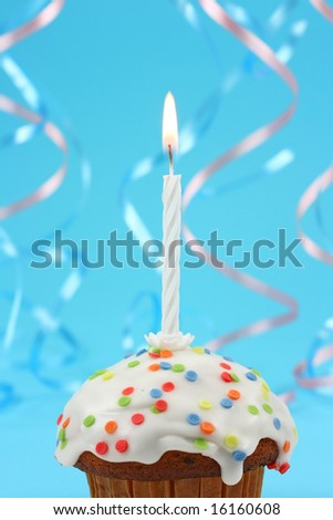 birthday cupcake with white candle